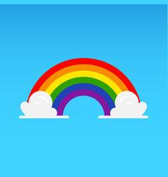 rainbow with cloud on blue sky vector image