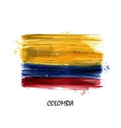 Realistic watercolor painting flag of colombia vector
