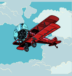 retro biplane plane flying in clouds vector image