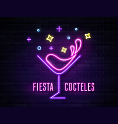 Retro neon wine glass sign on wall background vector