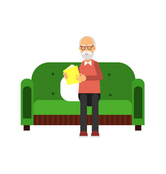 senior man character sitting on green sofa and vector image