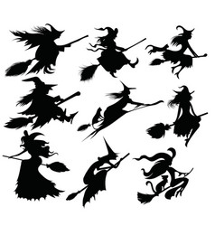 set black silhouettes witches flying vector image