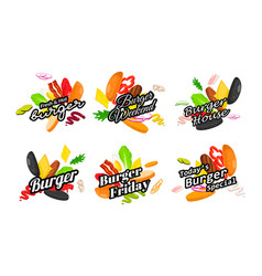 set burger time advertising with place for text vector image