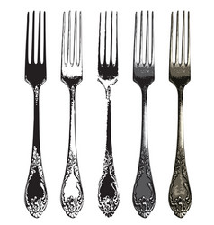 Set five realistic forks in retro style vector