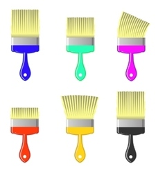 Set of Colorful Paintbrushes vector image