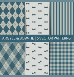Set seamless pattern argyle tartan bow-tie vector