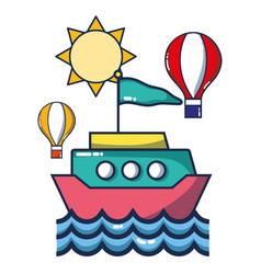 ship over sea cartoon vector image