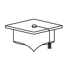 Sketch silhouette image graduation cap vector