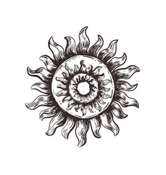 Sketch symbol of the sun pagan sun vector