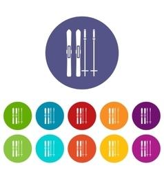 Skis and ski poles set icons vector image