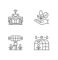 Smart agriculture linear icons set vector