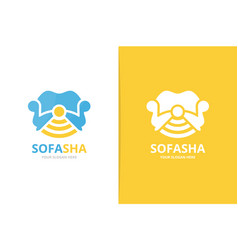 Sofa and wifi logo combination couch vector