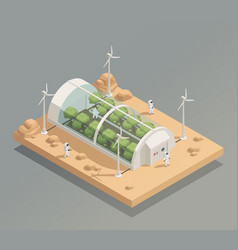 Space greenery facility isometric composition vector