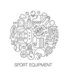 sport equipment in circle - concept line vector image