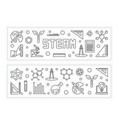 Steam concept modern horizontal banners vector