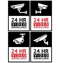 Stickers camera surveillance set vector