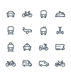 Transport line icons over white vector