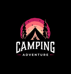 vintage camping and outdoor adventure logo vector image