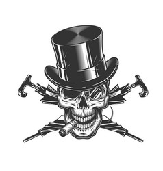 vintage gentleman skull in cylinder hat vector image