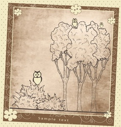 Vintage greeting card plant composition with birds vector image vector image