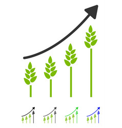 Wheat growing chart flat icon vector