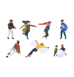 winter people isometric characters in winter vector image