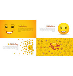 world smile day greeting card set vector image