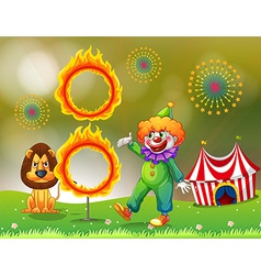 A ring of fire with a clown and a lion at the vector image