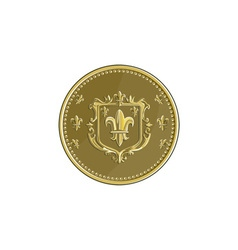 Fleur de lis Coat of Arms Gold Medal Retro vector image vector image