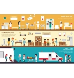 Medical Care Family Doctor Ambulance flat hospital vector image
