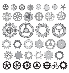 Steampunk collection machine gear wheel cogwheel vector image