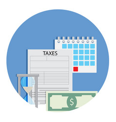 time for taxation icon vector image vector image