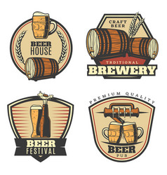 colorful vintage brewing emblems set vector image