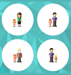 flat icon family set of grandpa father son vector image
