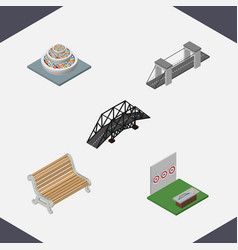 Isometric urban set of highway plants aiming vector