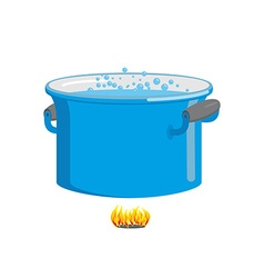 Pot of boiling water on fire cooking food blue vector