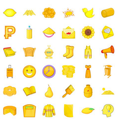Yellow thing icons set cartoon style vector