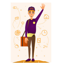 pizza delivery person in flat vector image vector image