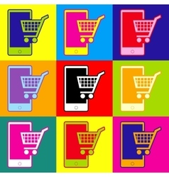 Shopping on smart phone sign vector image vector image