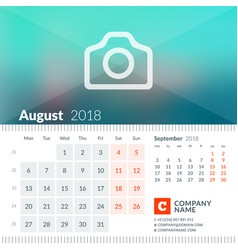 August 2018 calendar for 2018 year week starts vector