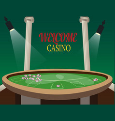 casino golden banner welcome with lamp vector image vector image