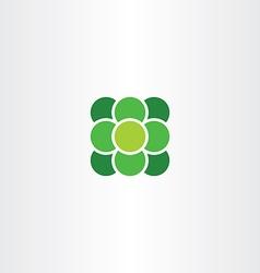 Green atom suqare with circle logo icon vector