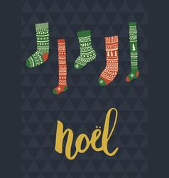 noel socks vector image vector image