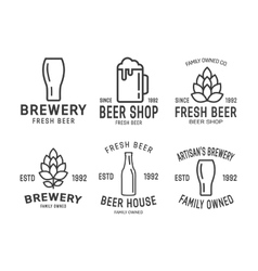 Set of linear brewery logos vector image vector image