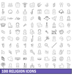 100 religion icons set outline style vector