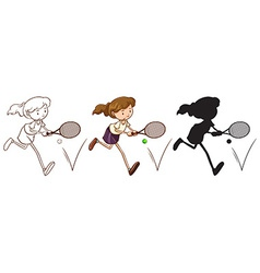 A sketch of a tennis player in different colors vector image