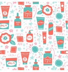 Acne treatment and skincare seamless pattern vector