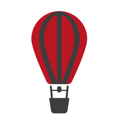 Air balloon icon in red and black colors isolated vector