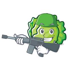 Army lettuce character cartoon style vector