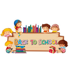Back to school template on wooden board vector